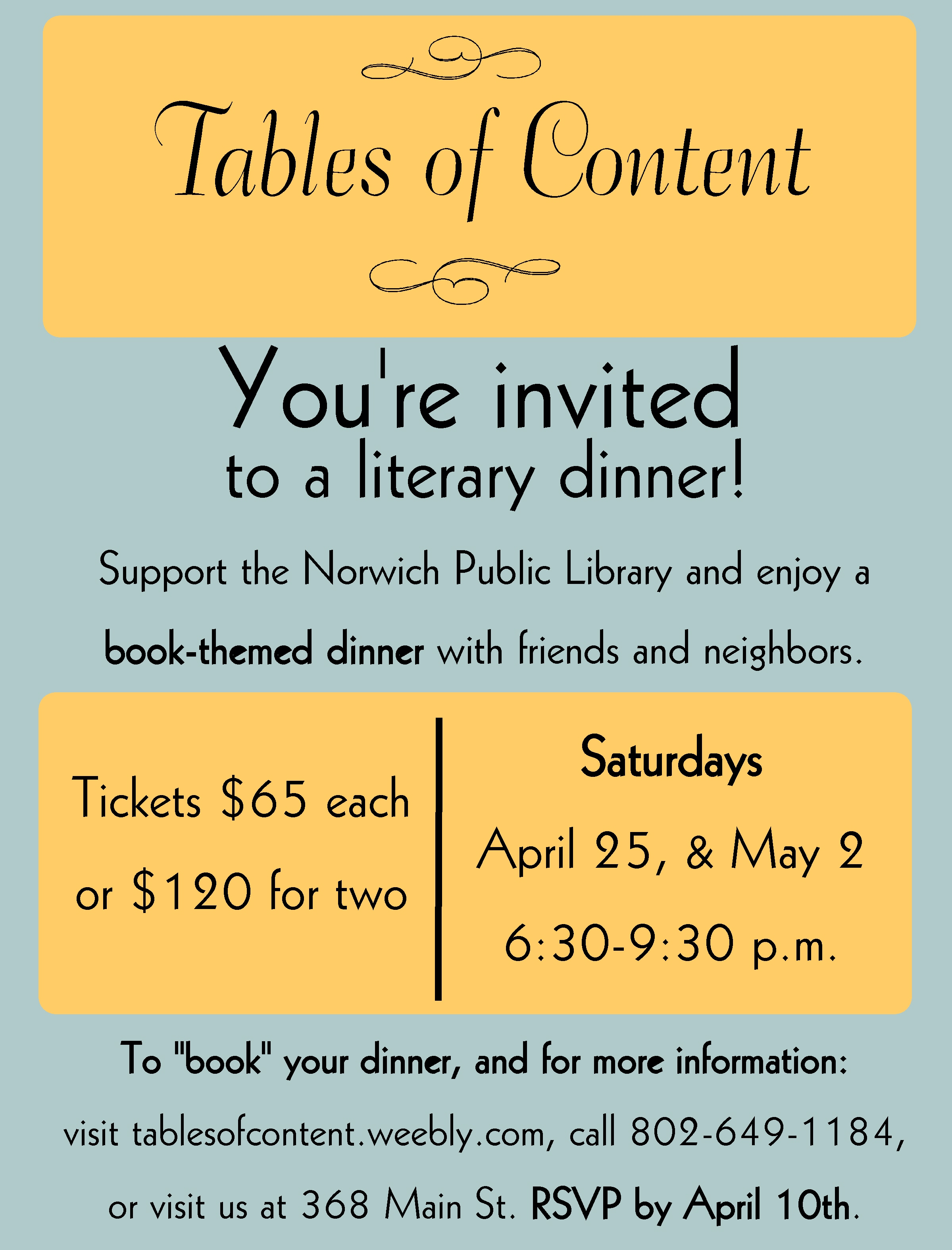 Tables of Content Saturdays: April 25th and May 2nd at 6:30pm