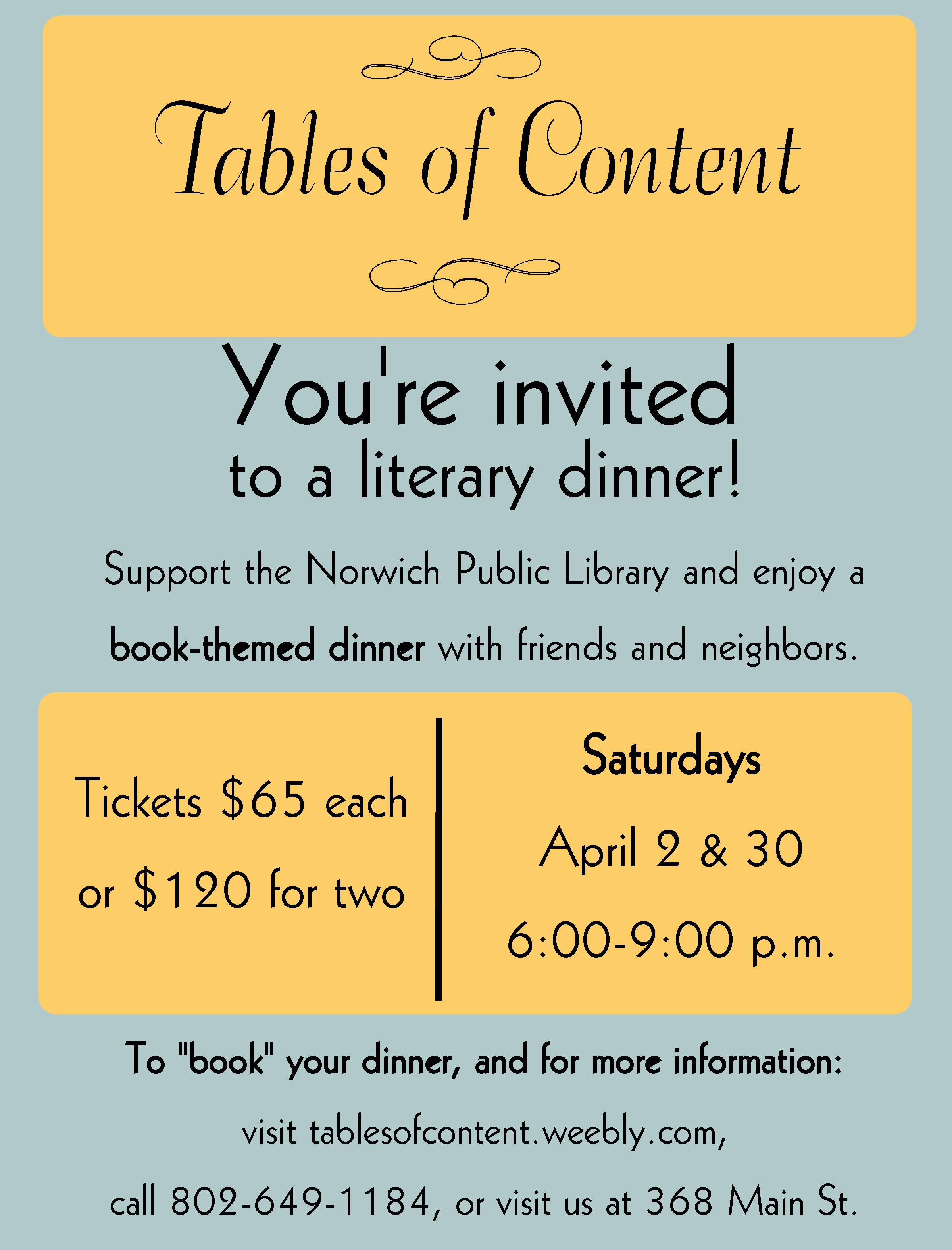 Tables of Content – A Literary-Inspired Fundraiser