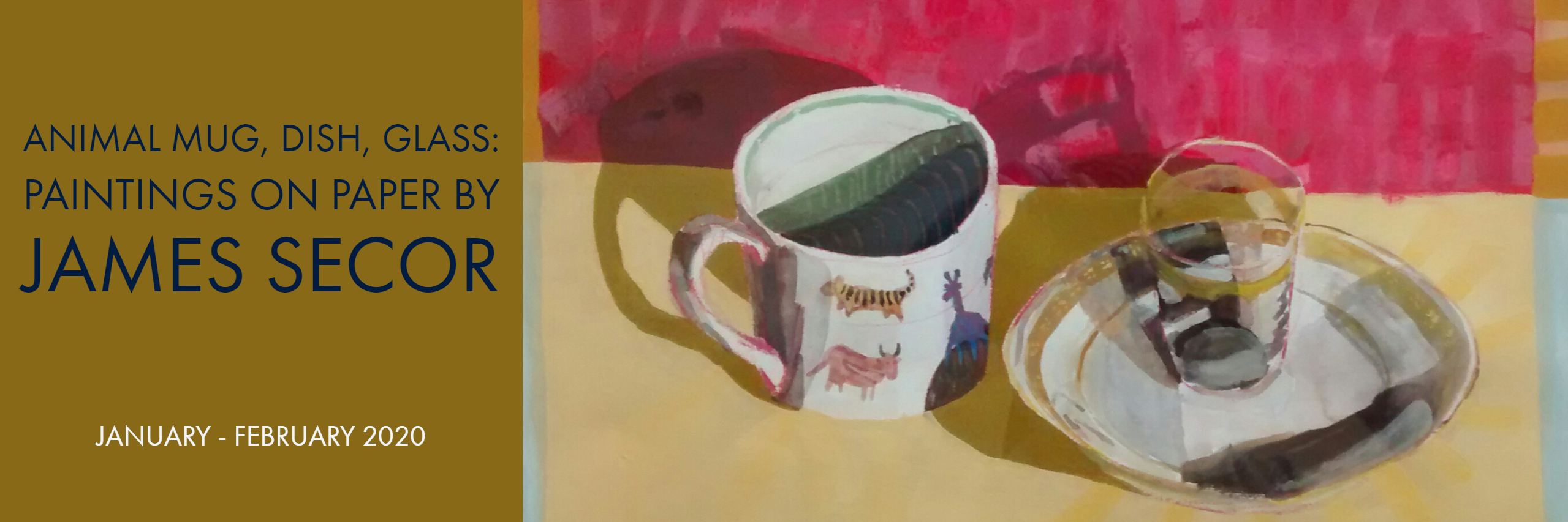 animal mug, dish, glass: paintings on paper by James Secor